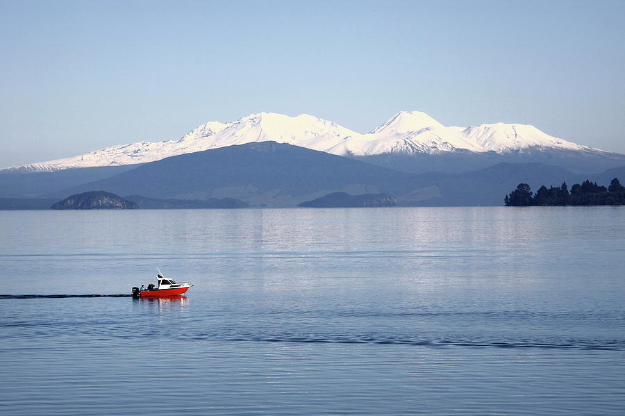 Red Boat On Lake Taupo Photograph by Gerhard Egger