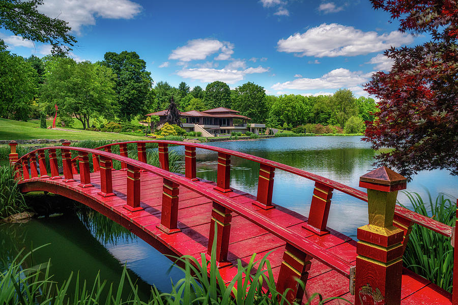 Red Bridge at the Lake House by Tom Mc Nemar