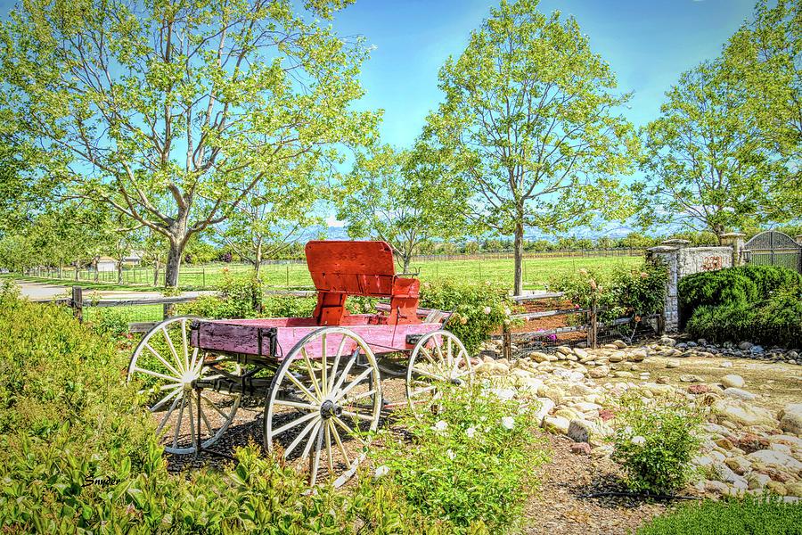 Red Buckboard Santa Ynez California by Floyd Snyder