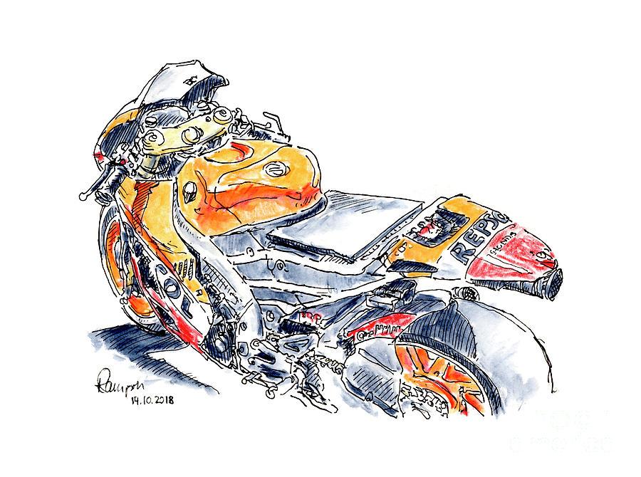 Motorbike Drawing - Red Bull Honda RC213V 2016 Marquez Repsol Team Moto GP Motorcycl by Frank Ramspott