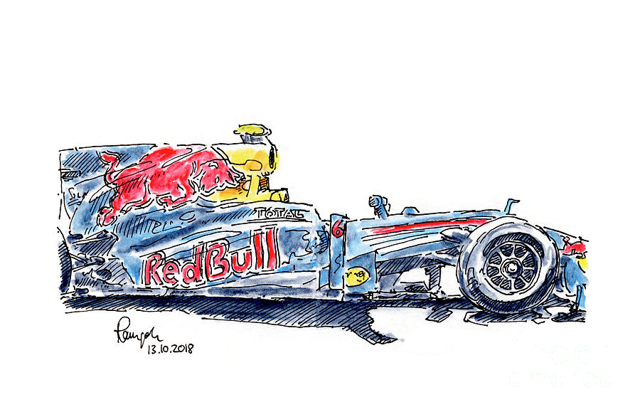 Red Bull Rb6 F1 Racecar Ink Drawing And Watercolor Drawing By Frank Ramspott