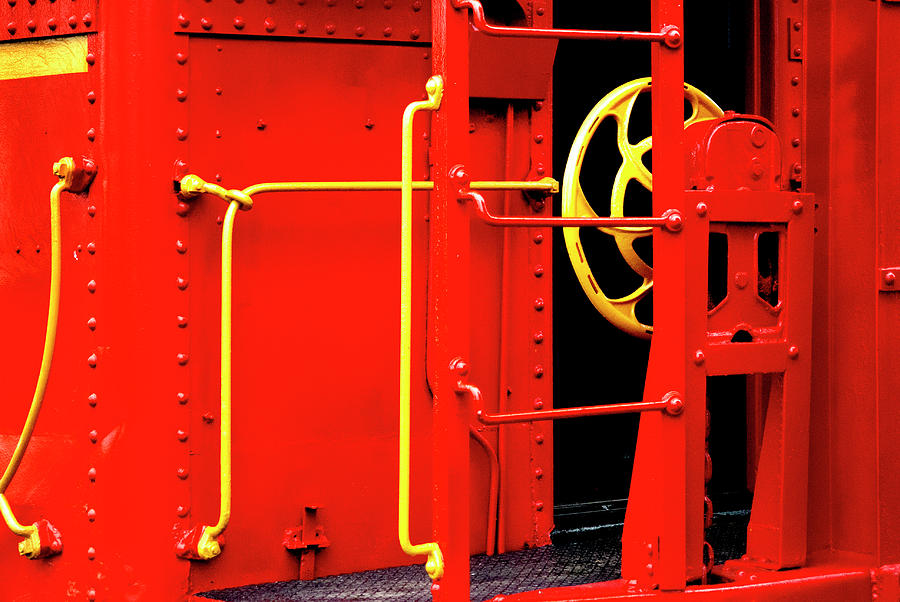 Red Caboose With Yellow Brake Wheel by Paul W Faust - Impressions of Light