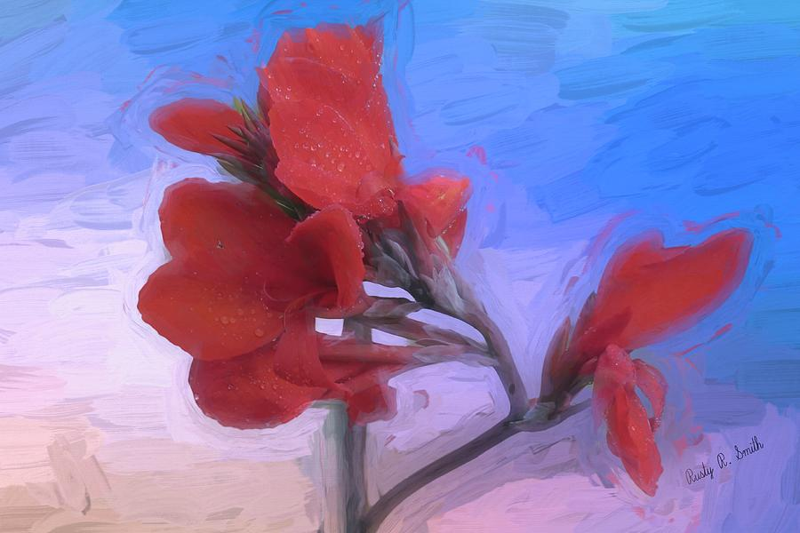 Red Canna  flower. by Rusty R Smith