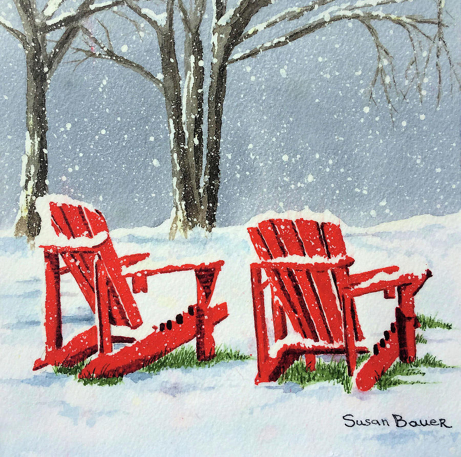 Red Chairs in Snow by Susan Bauer
