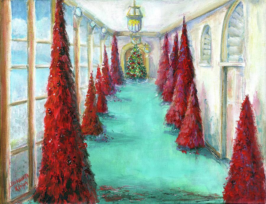 Red Christmas Trees 2018 Painting By Bernadette Krupa