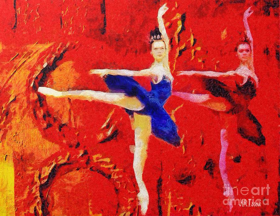 Red Circles Dancing Ballerina by Humphrey Isselt