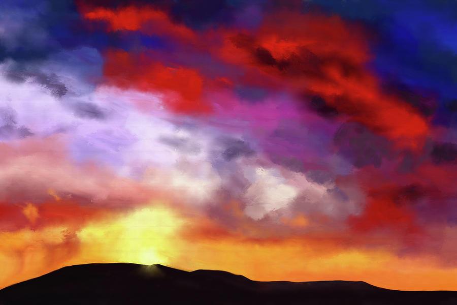 Landscape Digital Art - Red Clouds by Tanja Udelhofen