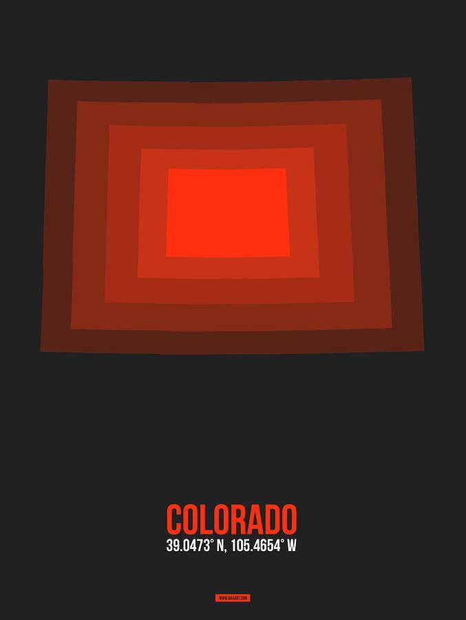 Colorado Map Digital Art - Red Colorado Map by Naxart Studio