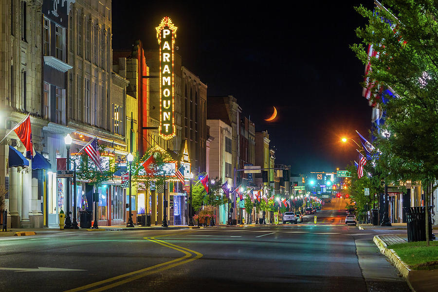 Red Crescent Moon Setting Over State Street by Greg Booher