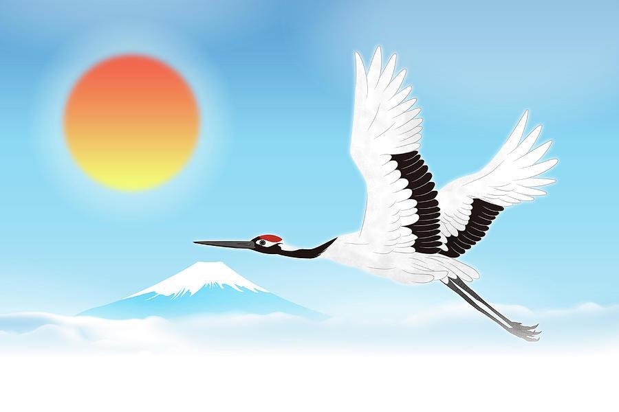 Red-crowned Crane Flying Against Mt Digital Art by Imagewerks