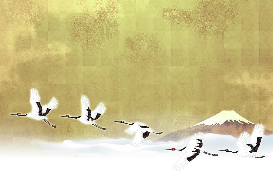 Red-crowned Cranes In Flight Against Digital Art by Imagewerks