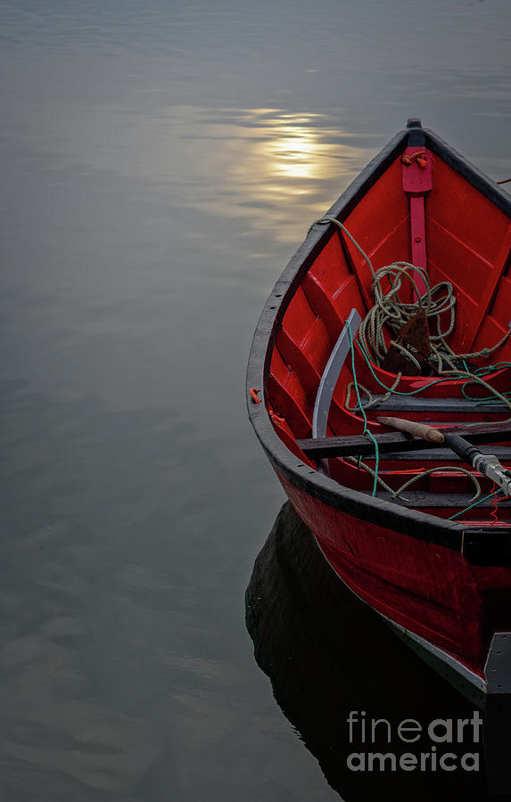 Old Bones Photograph - Red Dory At Dusk by Scott Thorp