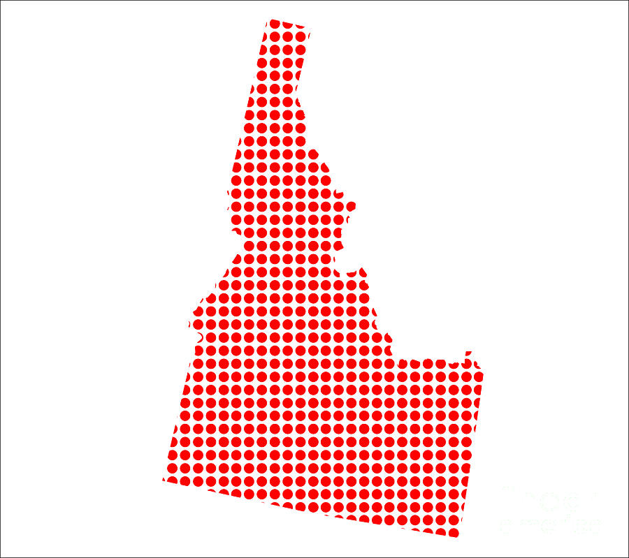 Idaho Digital Art - Red Dot Map Of Idaho by Bigalbaloo Stock