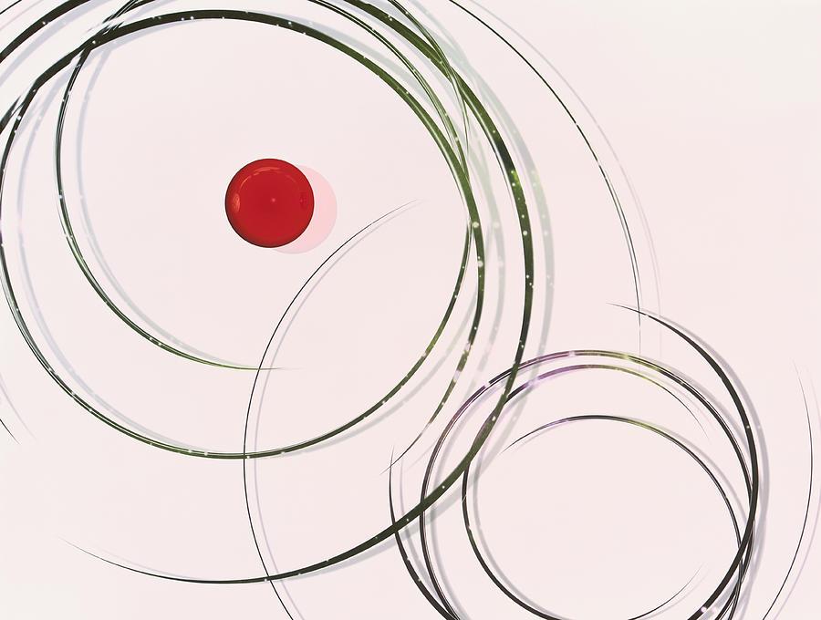 Red  Dot Within Circles Digital Art by Hiroshi Yagi
