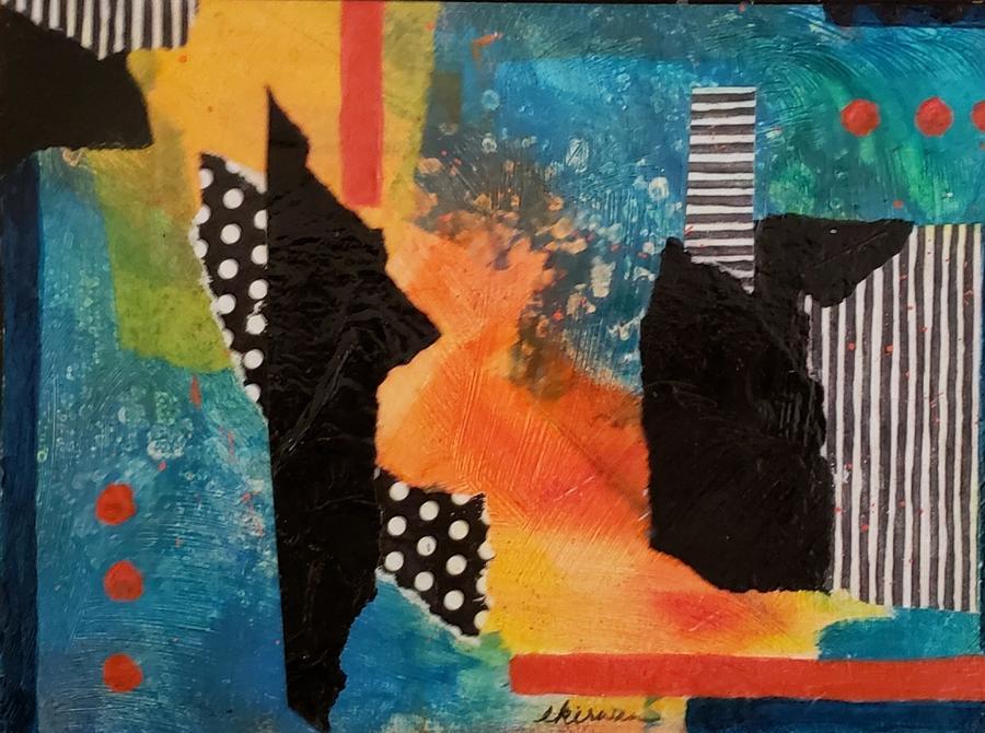 Abstract Mixed Media - Red Dots by Ellen Kirwan