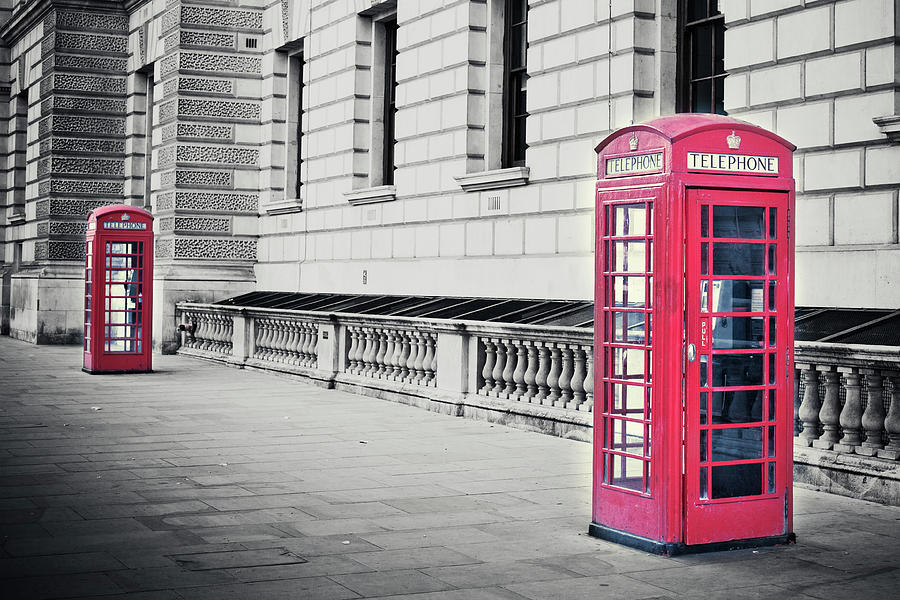 Red English Phone Booths In Black And Photograph by Zodebala