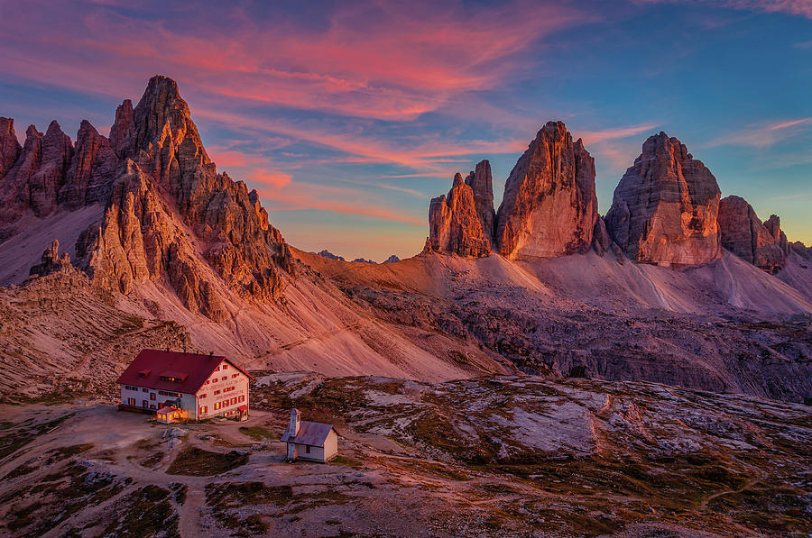 Red evening on Tre Cime di Lavaredo by Dmytro Korol