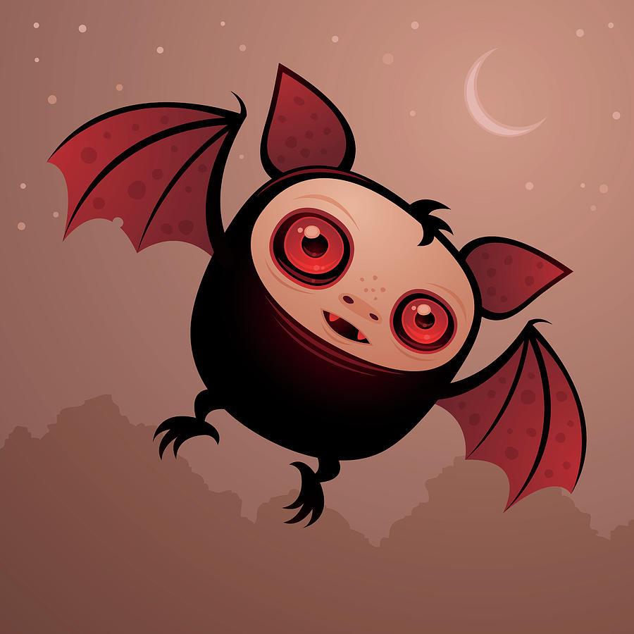 Cute Digital Art - Red Eye the Vampire Bat Boy by John Schwegel