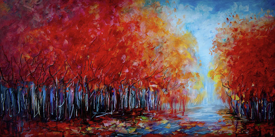Season Photograph - Red Fall Forest  by OLena Art - Lena Owens