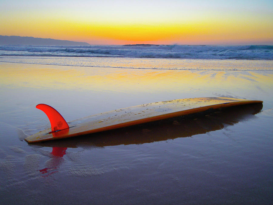 Red Fin Surfboard by Sean Davey