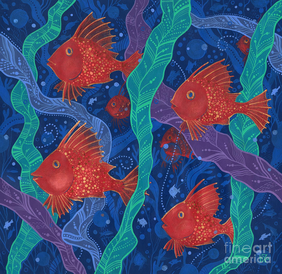 Underwater Painting - Red Fish by Julia Khoroshikh