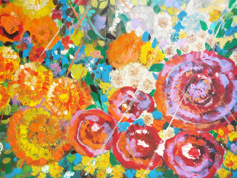 Flowers Painting - Red flowers by Hoda Said Ibrahim
