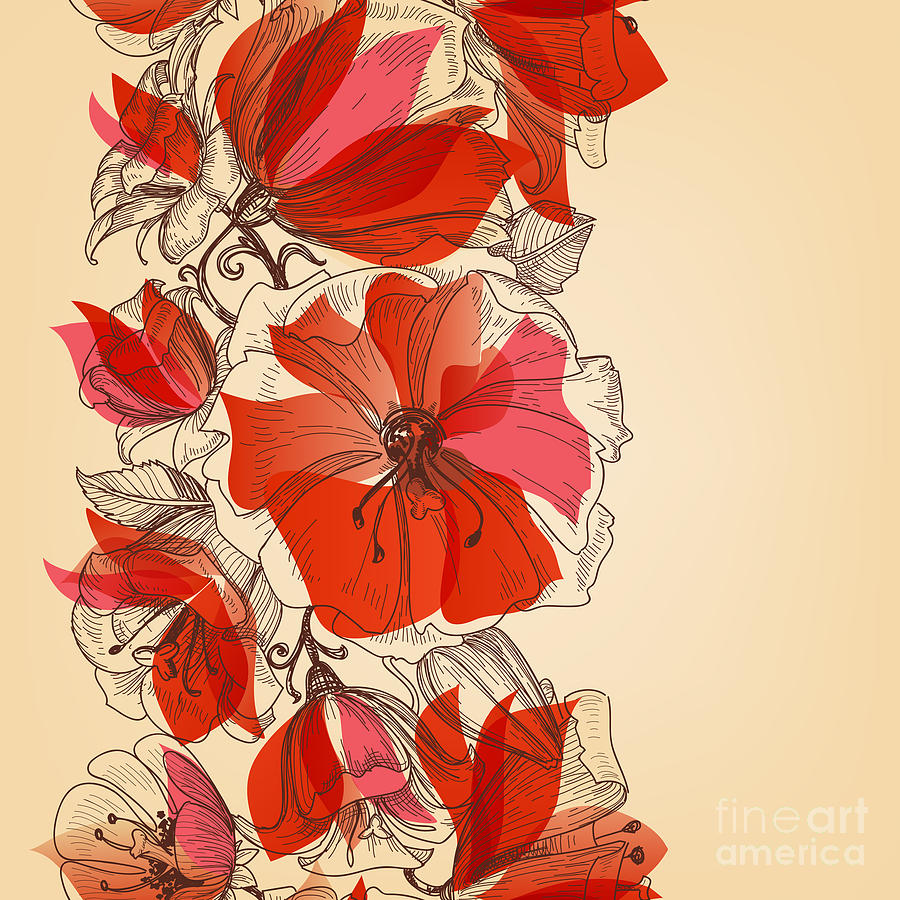 Decorate Digital Art - Red Flowers Seamless Pattern In Retro by Danussa