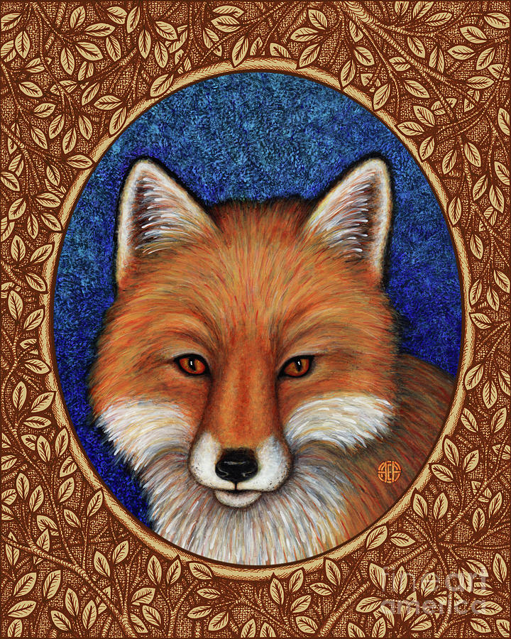 Red Fox Portrait - Brown Border by Amy E Fraser