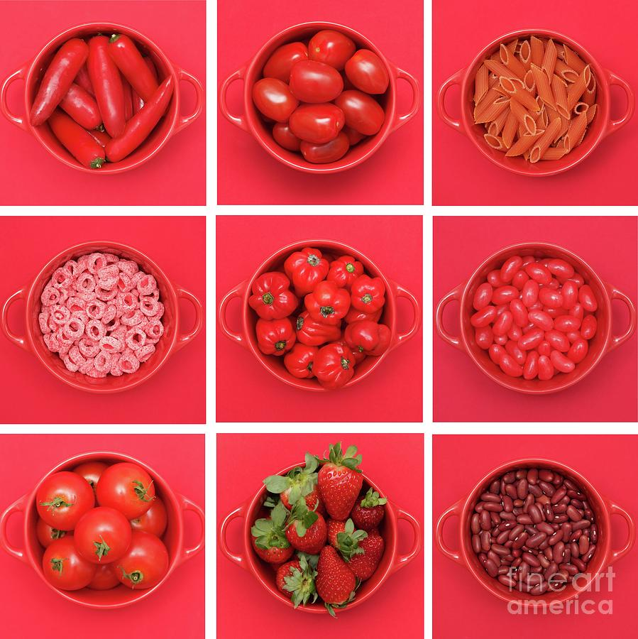 Red Fruit And Vegetables Arranged In Photograph by Sarah Saratonina