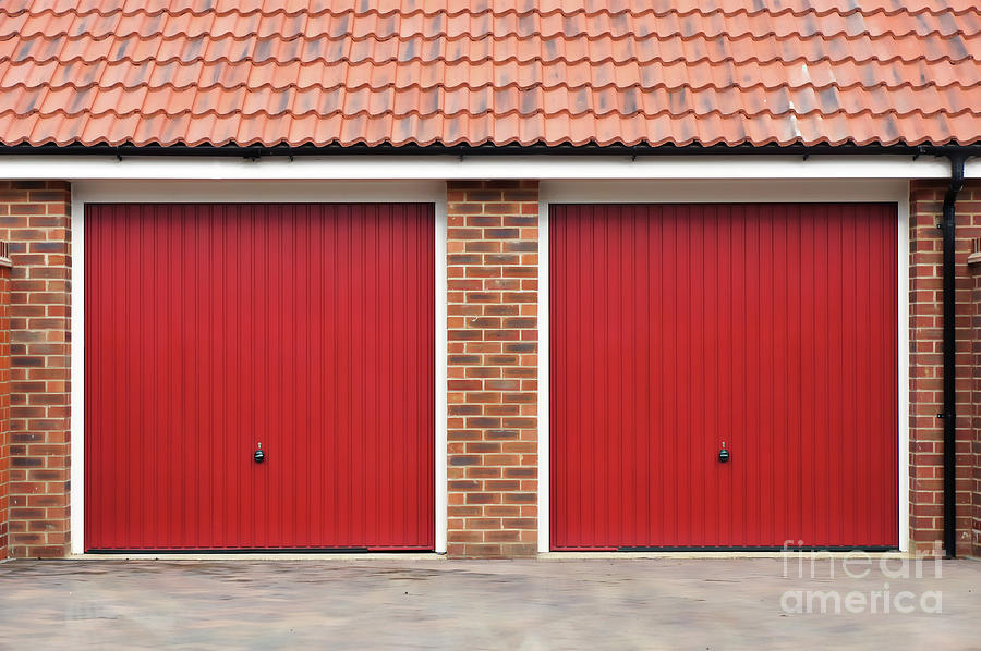 Architecture Photograph - Red Garage Doors by Tom Gowanlock
