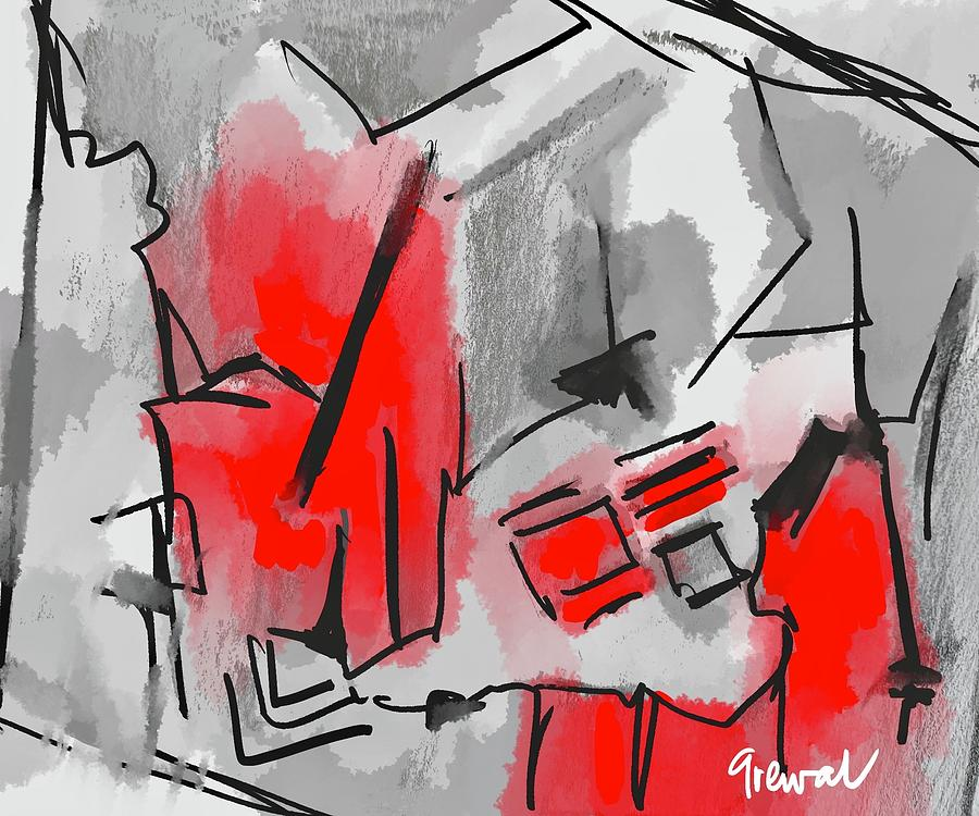 Red And Gray Abstract Art