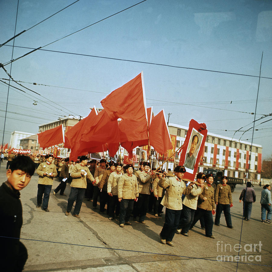 Red Guards Carrying Portrait Of Mao Photograph by Bettmann