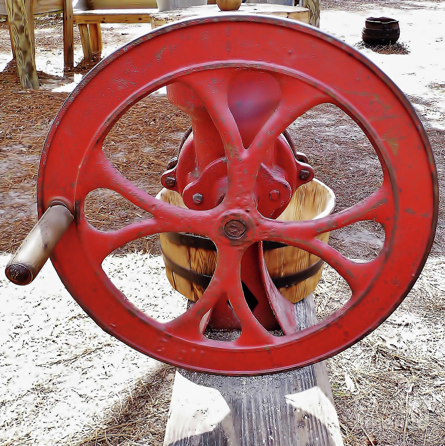 Red Handle On The Corn Sheller by D Hackett