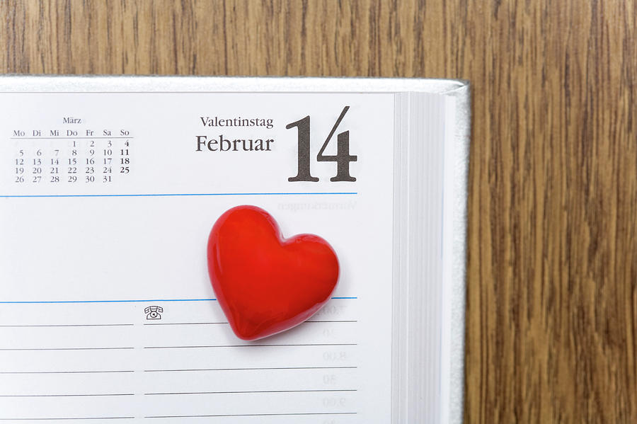 Red Heart Marking Valentines Day In A Photograph by Stock4b-rf