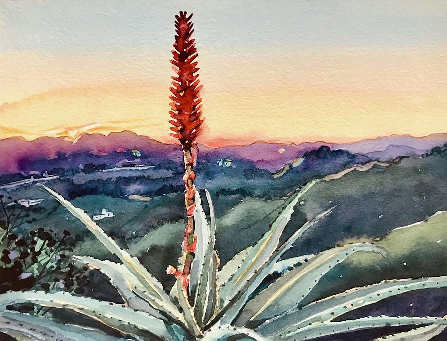 Red Hot Poker Sunset - Topanga Painting