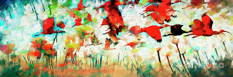 Red Ibis Migration Abstract by Ginette Callaway