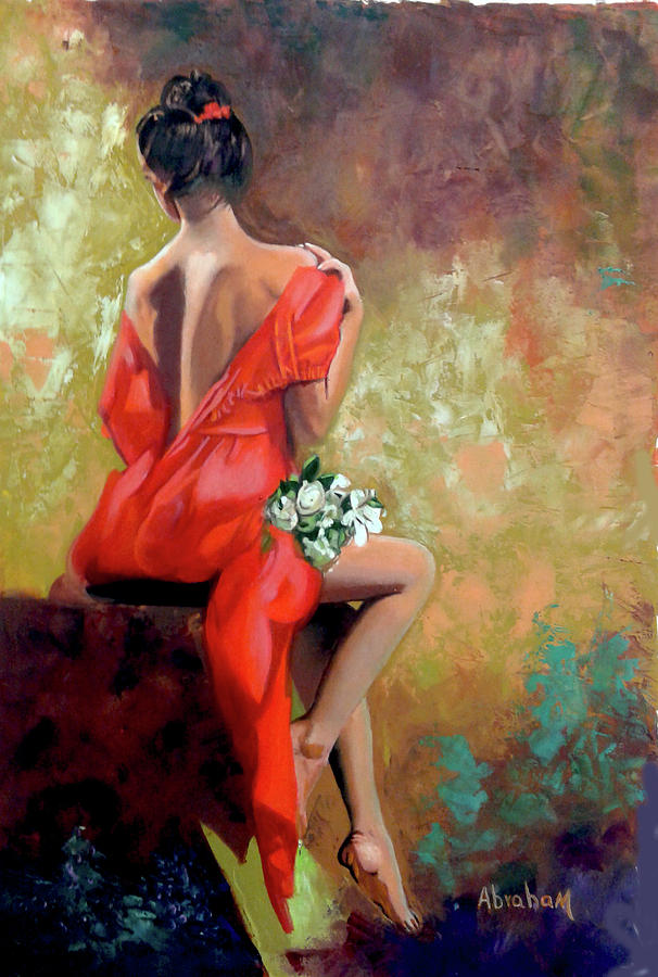 Women Painting - Red Lady 2 by Jose Manuel Abraham