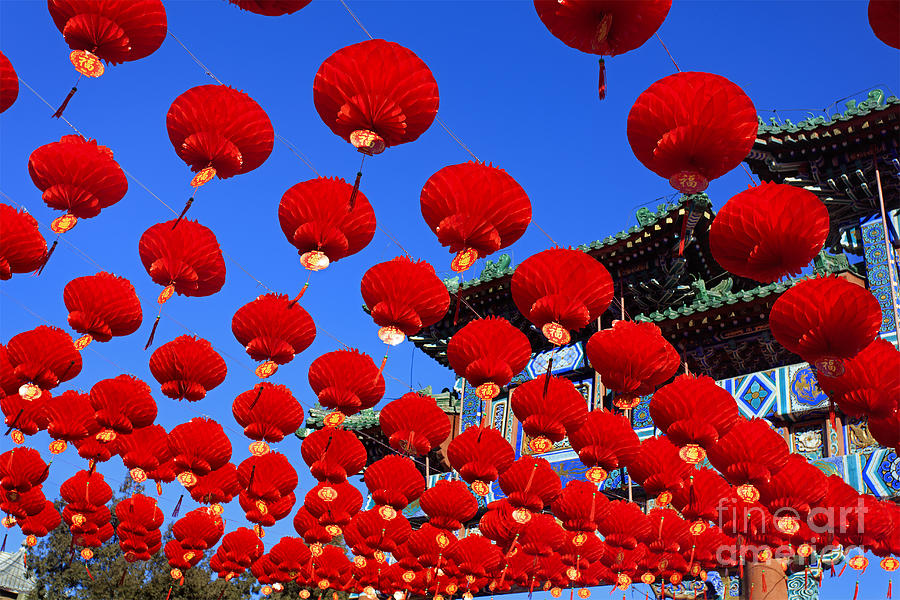 Commercial Photograph - Red Lanterns Are Used As Decoration For by Testing