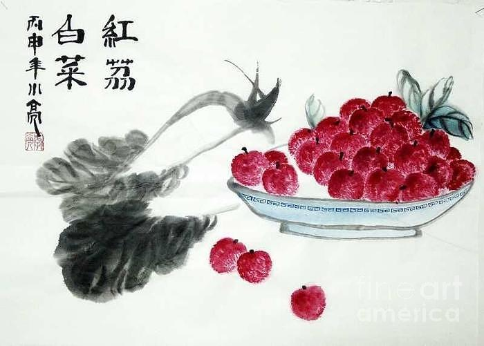 Red Litchi with Wealth by Li Liang