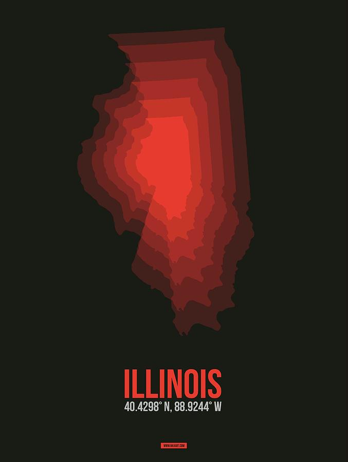 Illinois Digital Art - Red Map of Illinois by Naxart Studio