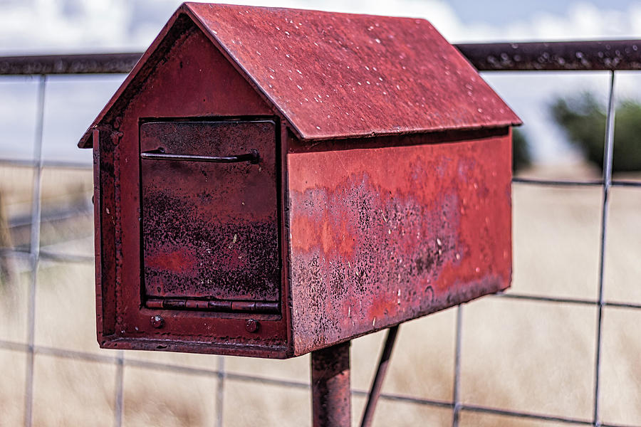 Red Metal Mailbox by Randy Bayne