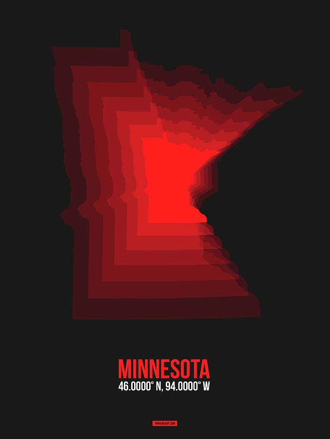 Minnesota Digital Art - Red Minnesota Map by Naxart Studio