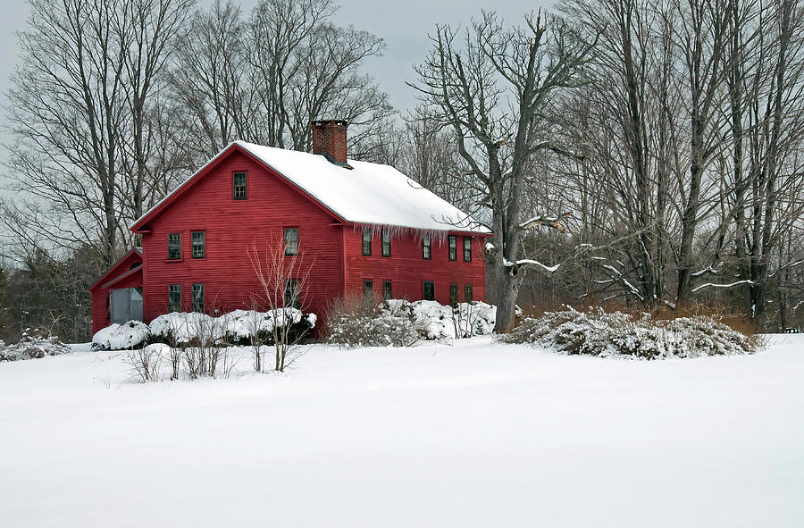 Red New England Colonial in Winter by Wayne Marshall Chase