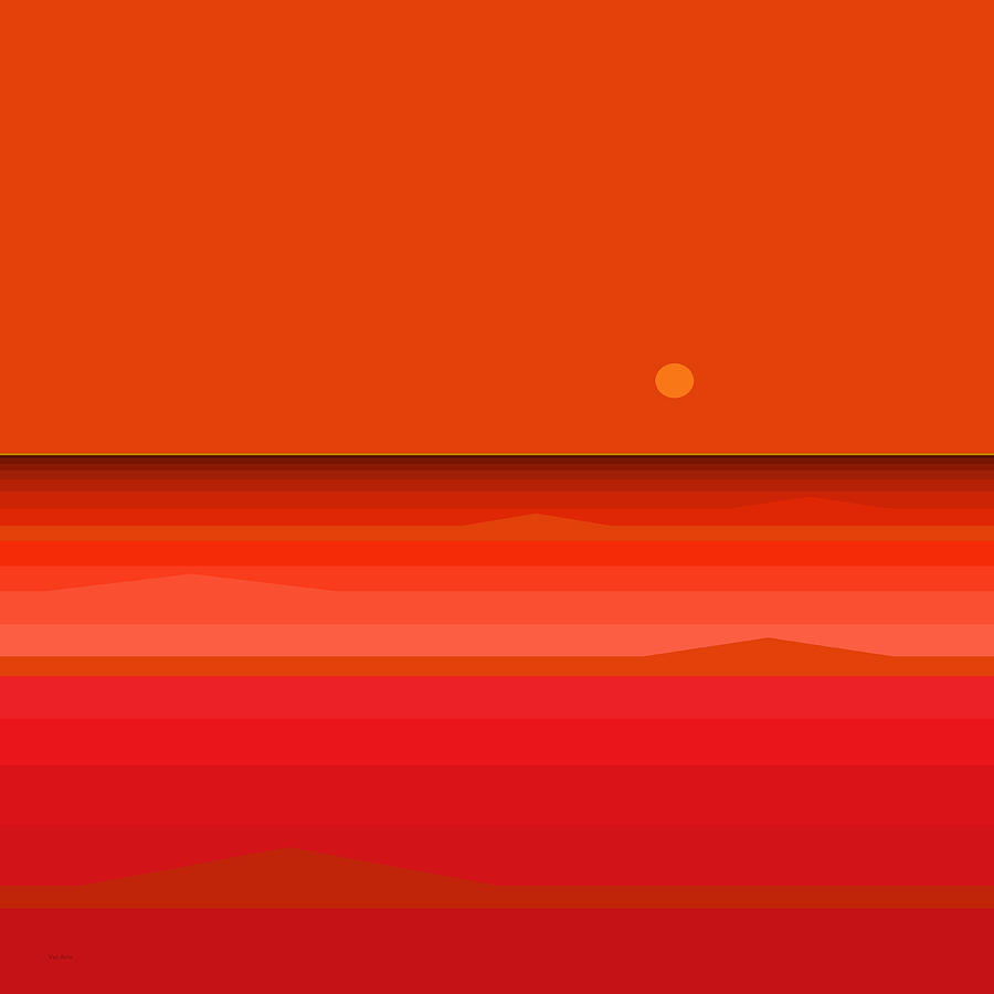 Red Ocean Sunset by Val Arie