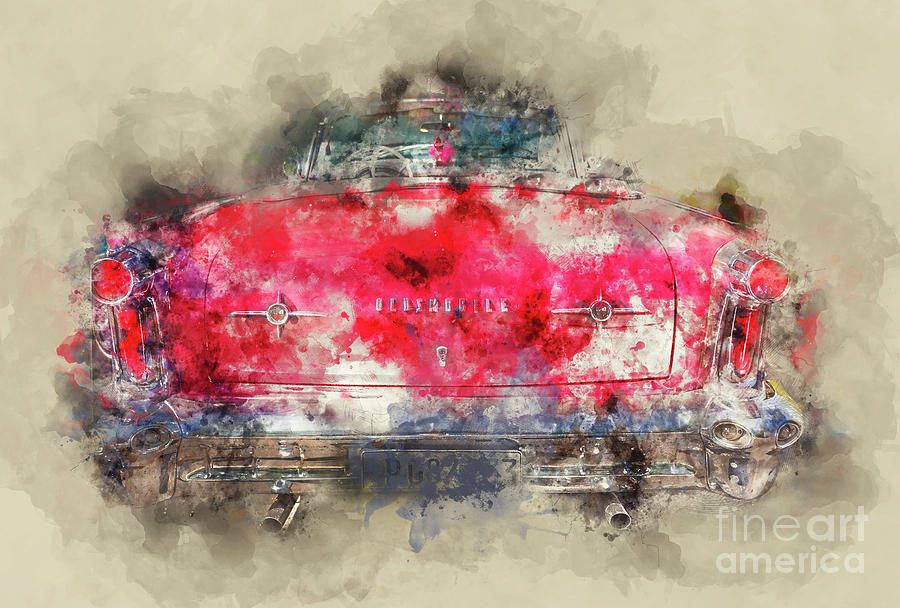 Oldsmobile Painting - Red Oldsmobile - Back by Delphimages Photo Creations