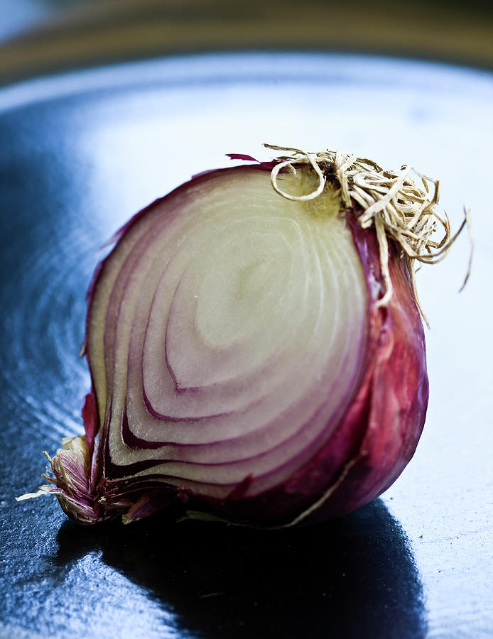 Red Onion Half Photograph by Ray Kachatorian