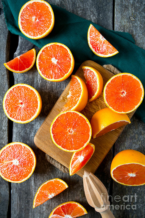 Country Photograph - Red Oranges On Wooden Surface by Diana Taliun
