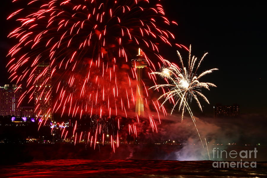 Red Photograph - Red Over Niagara Falls by Tony Lee