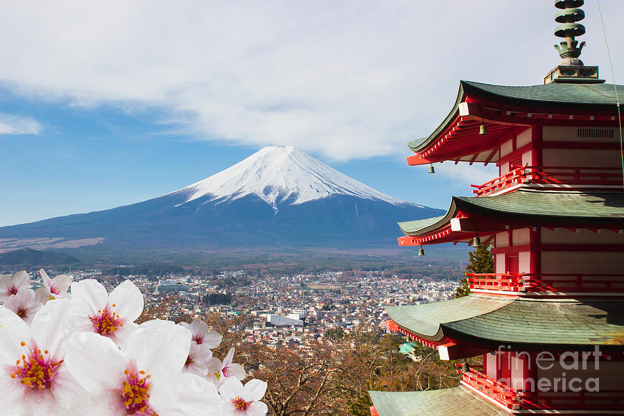 Symbol Photograph - Red Pagoda With Mt Fuji Background And by Tnshutter