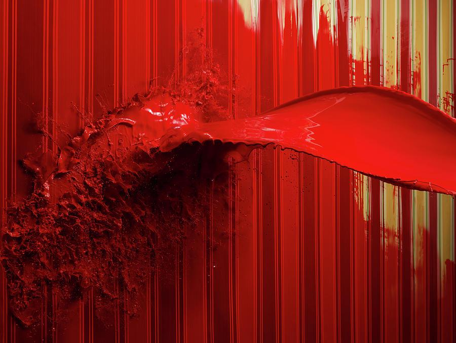 Red Paint Splattering On Painted Stripe Photograph by Biwa Studio